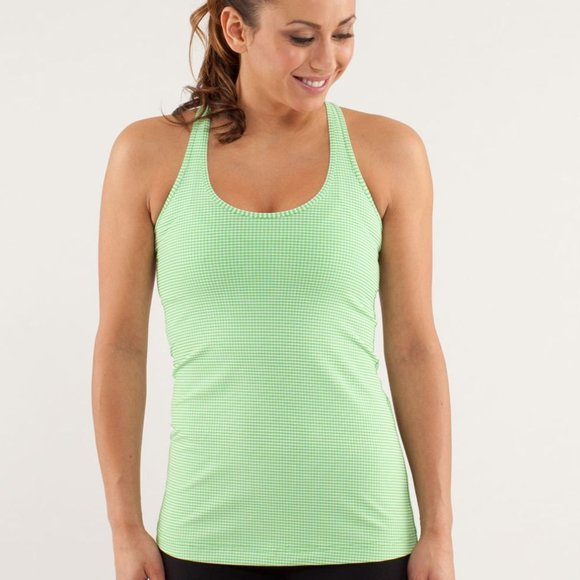lululemon Cool Racerback Tank Top Green Gingham 8